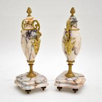 Pair of Antique French Marble & Gilt Bronze Urns (2 of 9)