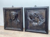 Pair of Antique Belgium Ecclesiatical Mary & Jesus Wall Plaster Plaque Sculptures (4 of 18)