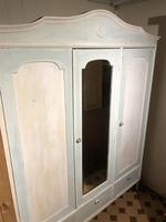 Vintage French Oak Triple Wardrobe Painted Blue and White Dismantles