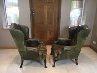 Stylish Pair of Large 18th Century Style Vintage Wing-back Armchairs (4 of 14)