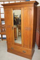 1940's Mirrored 1 Door Oak Wardrobe With Large Drawer.