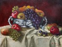 Fabulous 1960 Vintage Antique Still Life Of Fruit Study Oil On Canvas Painting (2 of 12)