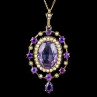 Antique Victorian Amethyst Pearl Pendant Necklace 9ct Gold 12ct Amethyst c.1900 (2 of 8)