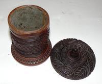 Victorian Carved Hardwood Tobacco Pot (4 of 6)