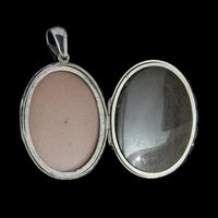 Antique Victorian Forget Me Not Locket Sterling Silver Gold Dated 1883 (5 of 7)