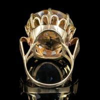 Vintage Citrine Cocktail Ring 9ct Gold Large 35ct Citrine Dated 1974 (5 of 6)