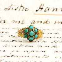 The Antique Victorian 1868 Seven Turquoise Ring