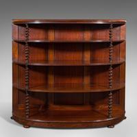 Antique Whatnot Bookshelf, English, Mahogany, Demi-lune, Bookcase, Victorian (2 of 12)