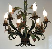 French Large 6 Arm Floral Toleware Chandelier Ceiling Light