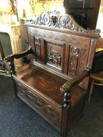 Victorian Antique Green Man Carved Oak Settle / Hall Seat / Monks Bench (6 of 10)