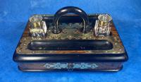 Victorian Brassbound Walnut Inkstand (6 of 16)