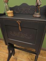 Unusual Antique Black Writing Bureau Desk with Folding Legs, Lockable, Gothic (5 of 13)