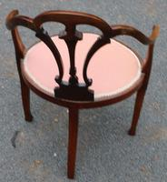 1920s Mahogany Corner Chair in Pink (3 of 3)