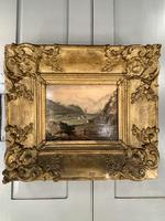 Antique Victorian Landscape Oil Painting in Ornate Gesso Frame (3 of 10)
