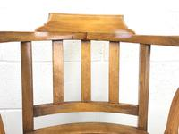 Early 20th Century Beech Smoker's Chair with Pokerwork Seat (M-1591) (4 of 8)