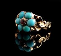 Antique Georgian mourning ring, Ruby and turquoise (7 of 10)