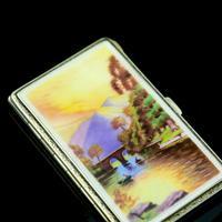 English Solid Silver Enamel Cigarette Case with Landscape Scene - A.J.P London 1927 (11 of 14)