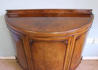 Figured Walnut Demi Lune Sideboard Side Cabinet (7 of 10)