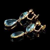 Antique Edwardian Blue Paste Earrings 9ct Gold Screw Backs c.1905 (3 of 5)
