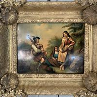 Antique Georgian oil painting on tin of piper playing to two ladies (9 of 12)