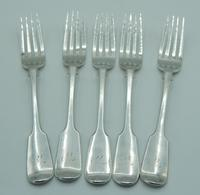Set of Five Silver Dessert Forks, George Adams / Chawner & Co