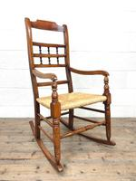 19th Century Rush Seat Rocking Armchair (8 of 9)