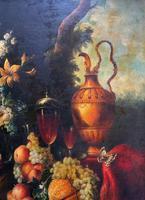 Old Master Revival - Large Original Antique Dutch Still Life of Flowers & Fruit (4 of 12)