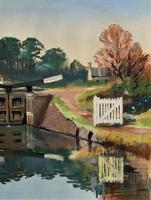 'Lapworth Canal, Warwickshire' Exceptional Vintage Oil on Canvas Painting c1960 (5 of 13)