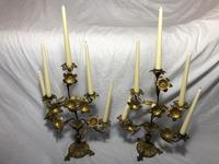 Pair of Art Nouveau French Gilt Bronze Ormolu 5 Branch Candelabra's & Ivory White Wax Candles (4 of 18)
