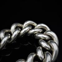 Vintage Heavy Chunky Heart Padlock Sterling Silver Curb Bracelet (8 of 10)