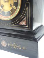 French Slate & Marble Mantel Clock 8 Day Striking Mantle Clock (4 of 8)