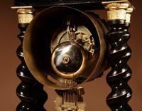 Original Ebonised & Brass Inlaid French Portico Clock c.1870 (5 of 7)