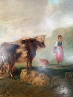 Antique Victorian landscape Oil Painting with Cows Sheep & Milkmaid (3 of 10)