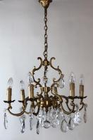 Antique French Large & Heavy Chandelier Gilt Bronze Ceiling Light with Crystal Droplets (4 of 7)