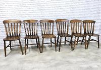Matched Set of 6 Windsor Slatback Kitchen Chairs (2 of 8)