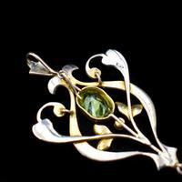 Antique Edwardian Amethyst Peridot & Pearl Lavalier 9ct 9K Yellow Gold Pendant (7 of 8)
