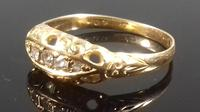 Antique Edwardian 18ct gold 5 stone diamond gypsy boat ring 1910 (6 of 6)