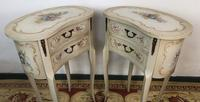 Vintage French Shabby Chic Kidney Shaped Floral Bedside Cabinets (7 of 8)