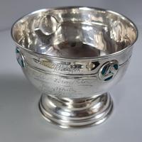 Rare Arts & Crafts Liberty & Co HM Silver & Enamel Cymric Bowl c.1905- Signed (12 of 14)