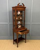 Edwardian Slender Inlaid Mahogany Display Cabinet (19 of 21)