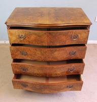 Antique Burr Walnut Shaped Front Chest of Drawers (7 of 7)