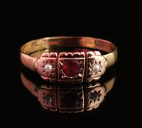 Victorian Garnet & Pearl Ring, 9ct Gold (9 of 13)
