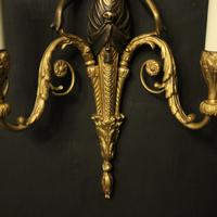 French Pair of Gilded Bronze Twin Arm Antique Wall Sconces (4 of 10)