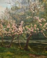 Superb Early 1900s Spring Blossom Riverscape Impressionist Oil Painting (4 of 13)