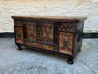 Large 19thc Swedish Country House Robust Painted Pine Storage Coffer Chest (3 of 18)