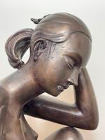 Art Deco Style Nubile African Tribal Bronze Nude Lady Statue Sculpture (5 of 28)