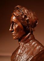 Beautiful Expressive Carved Wooden Bust of Woman, Signed B. Tuerlinckx = Boudewijn Tuerlinckx (10 of 11)