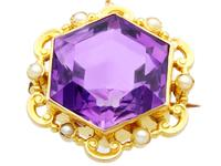 12.50ct Amethyst & Seed Pearl, 15ct Yellow Gold Brooch - Antique c.1890 (4 of 9)