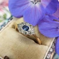 Art Deco 18ct Yellow Gold, Platinum, Sapphire & Diamond Ring (4 of 9)