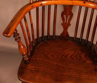 Good Yew Wood High Back Windsor Chair Rockley Maker (7 of 11)